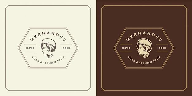 Volto di donna chef ristorante logo in sagoma cappello buono per il menu del ristorante