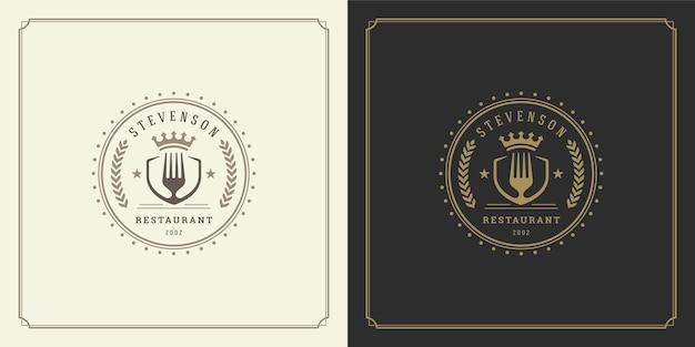 Siluetta della forcella dell'illustrazione di progettazione di logo del ristorante