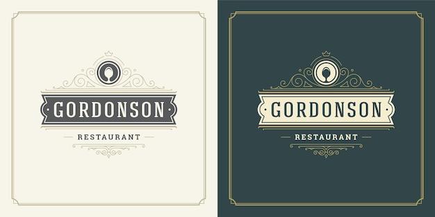 Sagoma del cucchiaio dell'illustrazione di logo del ristorante buona per il menu del ristorante e il distintivo del caffè.