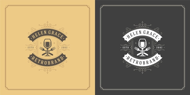 Ristorante logo illustrazione bicchiere di vino calici silhouette, buono per il menu del ristorante e il distintivo del caffè.