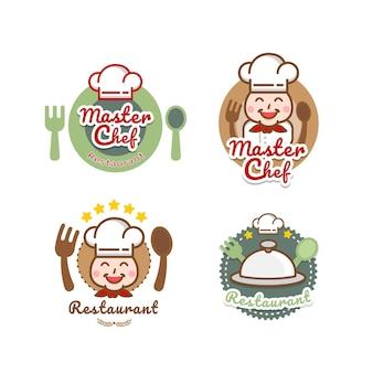 Modello logo ristorante etichette cappello da chef