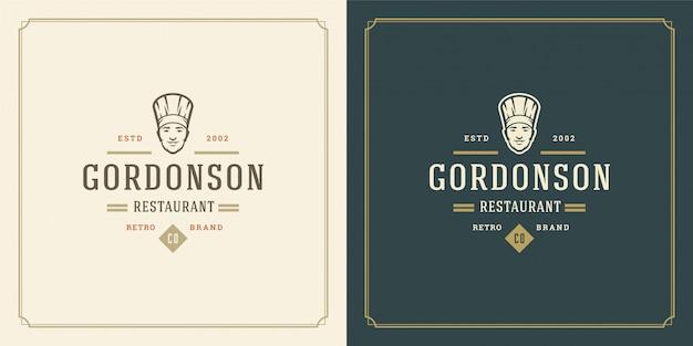 Ristorante logo modello chef uomo faccia in sagoma cappello buono per il menu del ristorante