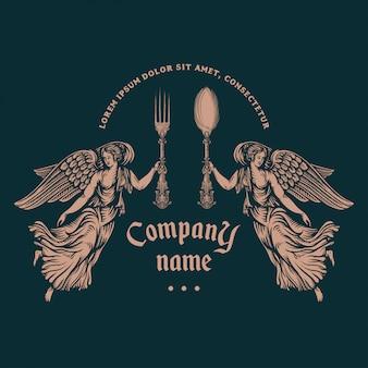 Modello di logo del ristorante. stile dell'incisione.