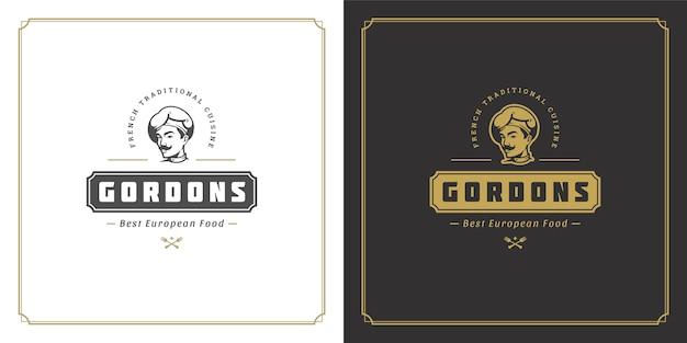 Ristorante logo modello illustrazione chef uomo faccia in sagoma cappello, buono per il menu del ristorante e il distintivo del caffè.