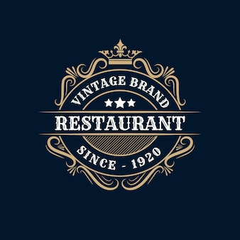 Il simbolo e l'ornamento della forcella dell'illustrazione del modello di logo del ristorante turbinano buoni per il segno del caffè e del menu