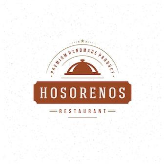 Modello di logo del ristorante, cloche vassoio con simbolo di bistecca di carne e decorazione buono per menu e caffetteria