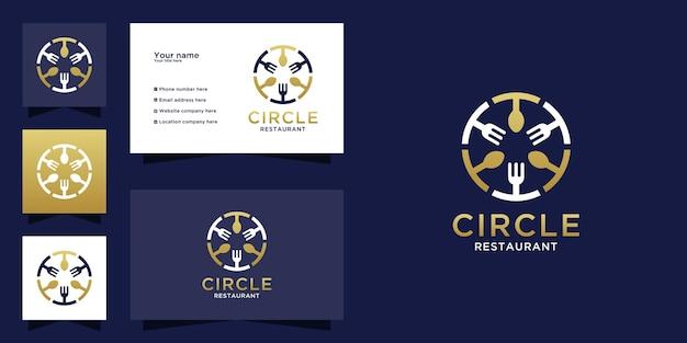 Logo del ristorante con design del concetto di cerchio di posate