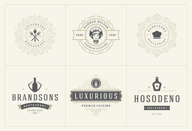 I modelli di logo del ristorante hanno impostato l'illustrazione buona per etichette di menu e distintivi di caffè.
