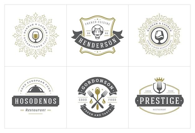 I modelli di logo del ristorante hanno impostato l'illustrazione buona per etichette di menu e distintivi di caffè