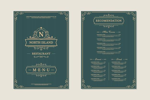 Progettazione di menu del ristorante. modello di brochure per bar, caffetteria, ristorante, bar. disegno di simbolo del logotipo di cibo e bevande. sfondo vintage
