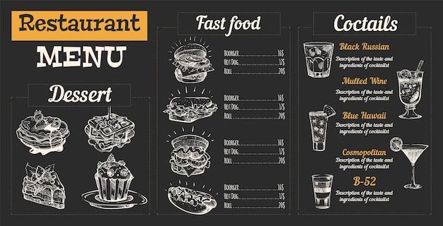 Dessert del menu del ristorante