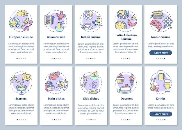 Menu del ristorante onboarding schermata della pagina dell'app mobile con concetti impostati