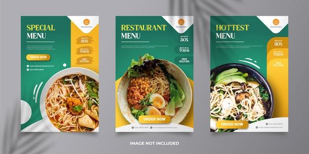 Modello di banner post social media menu del ristorante vettore premium