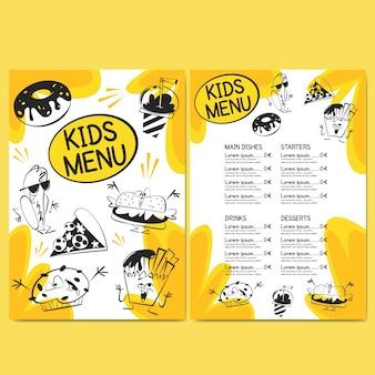 Modello di menu del ristorante per bambini