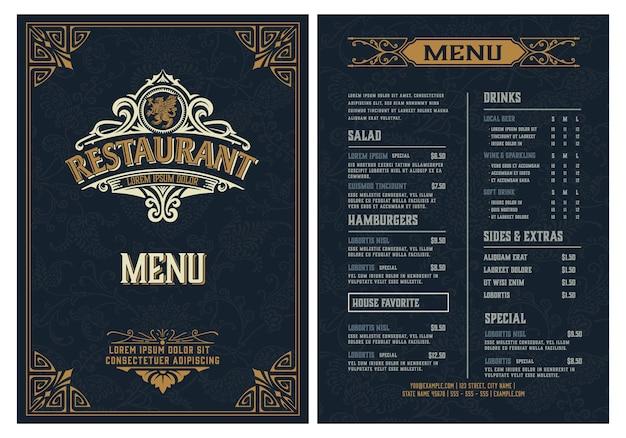 Modello di menu del ristorante. stile vintage.