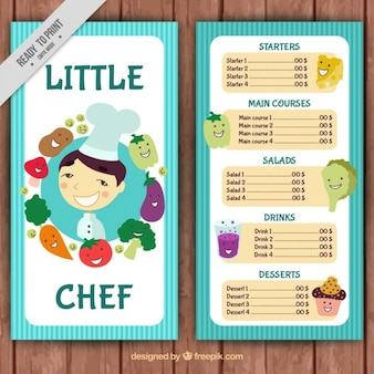 Menu del ristorante con lo chef e verdure