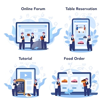 Servizio online di ristorante o set di piattaforme. cameriere in divisa, servizio catering. prenotazione tavolo e ordine online.