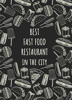 Modello di poster del ristorante con doodle di cibo Vettore Premium