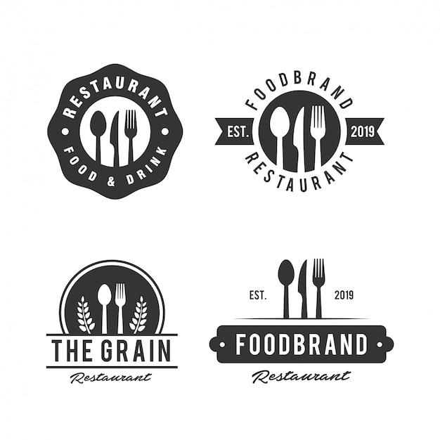 Emblema del negozio di ristorante con logo in stile vintage