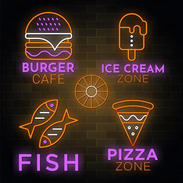 Collezione di insegne del ristorante in stile neon