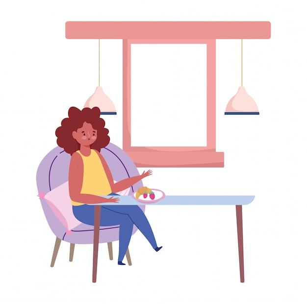 Ristorante sociale di distanza, donna seduta a tavola nuova normale, prevenzione coronavirus