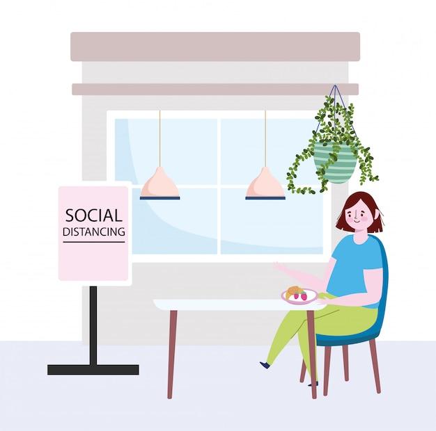 Ristorante sociale di distanza, donna seduta a tavola con frutta, mantenere una distanza di sicurezza, prevenzione coronavirus