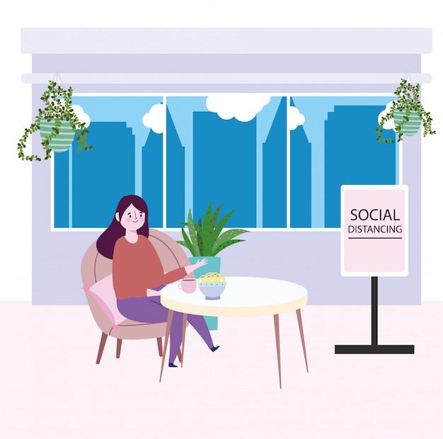 Ristorante sociale di distanza, donna con cibo in tavola e tavola a distanza di sicurezza, prevenzione coronavirus