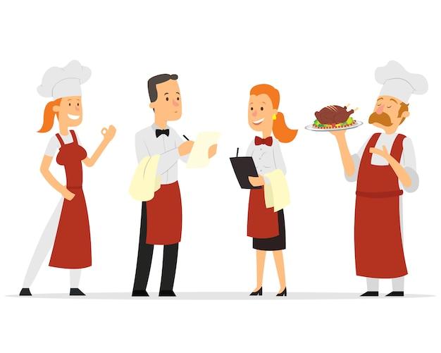 Progettazione di personaggi del personale del ristorante.