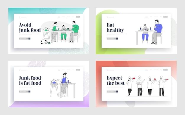 Personale del ristorante con set di pagine di destinazione del sito web di piatti