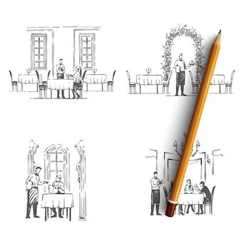 Camerieri del ristorante nei ristoranti che ottengono l'illustrazione degli ordini