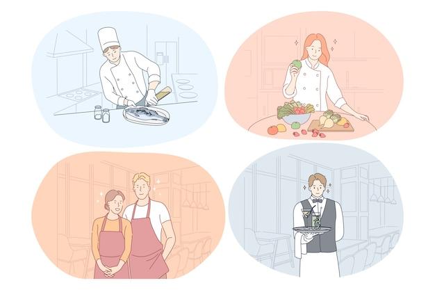 Lavoratore del ristorante, cuoco, chef, cameriere, concetto di barista.