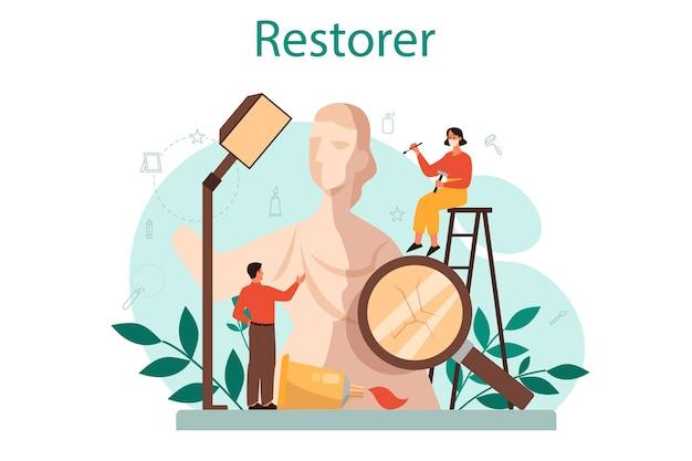 Concetto di restauratore. l'artista ripristina una statua antica, vecchi dipinti e mobili. la persona ripara con cura il vecchio oggetto d'arte. illustrazione vettoriale in stile cartone animato