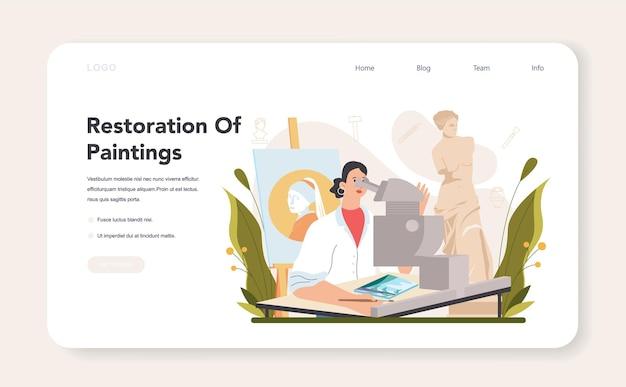 Banner web o landing page del restauratore. artista che restaura un vecchio dipinto. la persona ripara con attenzione il vecchio oggetto d'arte. illustrazione vettoriale in stile cartone animato