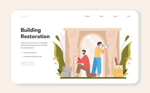 Restauratore di banner web o ripristino dell'artista della pagina di destinazione
