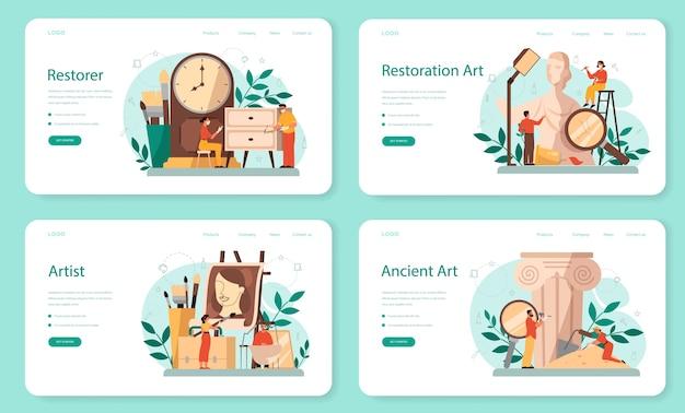 Banner web restauratore o set di pagine di destinazione