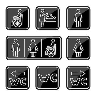 Icone del bagno. uomo, donna, simbolo della persona su sedia a rotelle e fasciatoio. segno della toilette maschile, femminile, per disabili. icone della linea wc. tratto modificabile