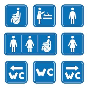 Icone del bagno uomo donna simbolo persona su sedia a rotelle e fasciatoio simbolo maschio femmina wc