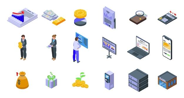Set di icone di denaro risultato. set isometrico di icone vettoriali di denaro risultato per web design isolato su sfondo bianco