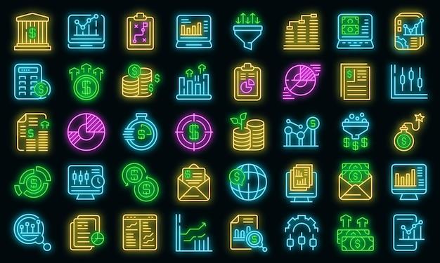 Set di icone di denaro risultato. delineare l'insieme delle icone vettoriali dei soldi dei risultati colore neon su nero