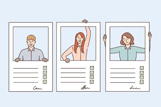 Riprendi, questionario e concetto di moduli di adempimento. profili di giovani candidati con segni e informazioni personali compilati in forme illustrazione vettoriale
