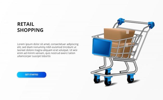 Concetto di acquisto della vendita al dettaglio con l'illustrazione del carrello e pacchetto del cartone della scatola. attività di ricerca di mercato.