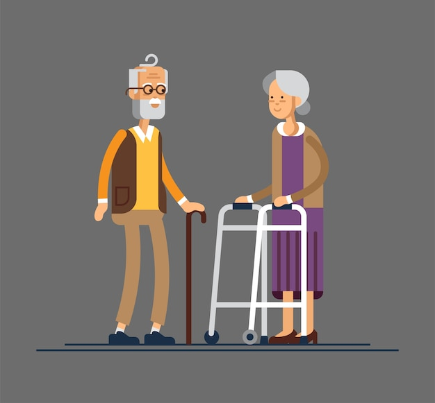 Coppia di anziani di età maggiore in pensione con il bastone da passeggio e il camminatore di pagaia isolato