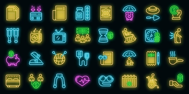 Set di icone di pensionamento. delineare l'insieme delle icone vettoriali di pensionamento colore neon su nero