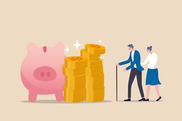 Fondo comune di pensionamento, 401k o risparmio roth ira per una vita felice dopo il pensionamento e il concetto di libertà finanziaria, uomo e donna anziani ricchi di coppia senior stanno con una pila di monete in dollari salvadanaio rosa.