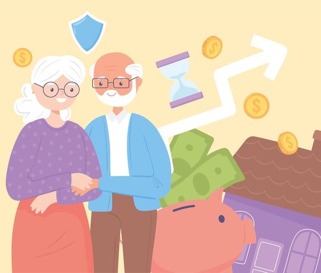 Piano pensionistico e vecchia coppia