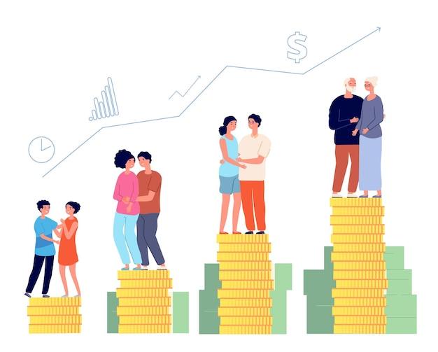 Piano di risparmio previdenziale. pensionato intelligente, gestione della pensione. il fondo di denaro familiare, l'uomo che invecchia con successo investe l'illustrazione vettoriale delle finanze. finanza per la pensione e risparmio di investimento in età
