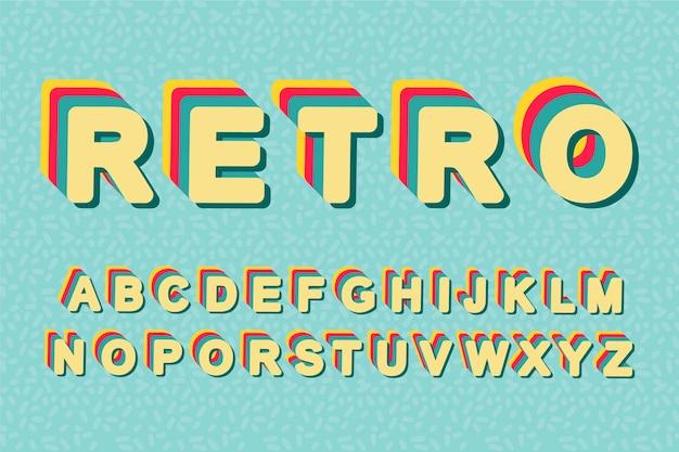 Retro lettere 3d effetto anni ottanta alfabeto