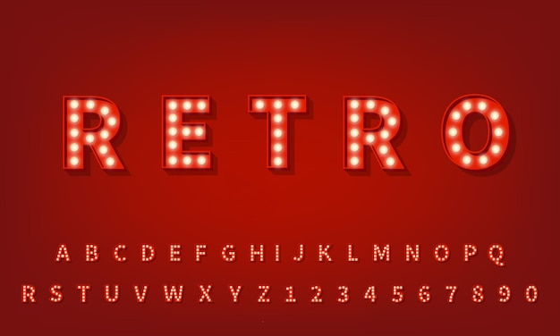 Carattere tipografico 3d retrò. alfabeto della lampadina 3d