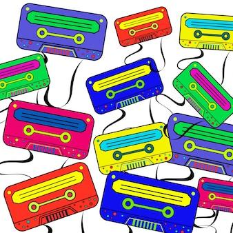 Carta da parati di sfondo retro 80 con boombox colorato.