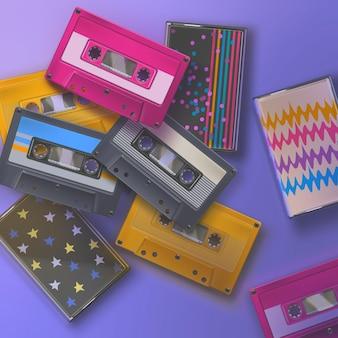 Cassette colorate realistiche degli anni '80 retrò su sfondo viola